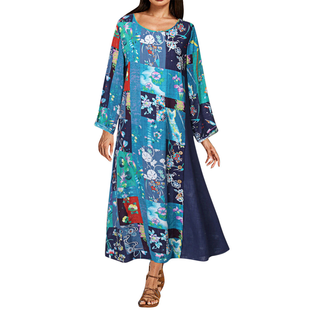 Womens O-neck Dress vestidos Plus Size Long Sleeves Printing Splicing Casual Long Dress Платье dress women Платье женское