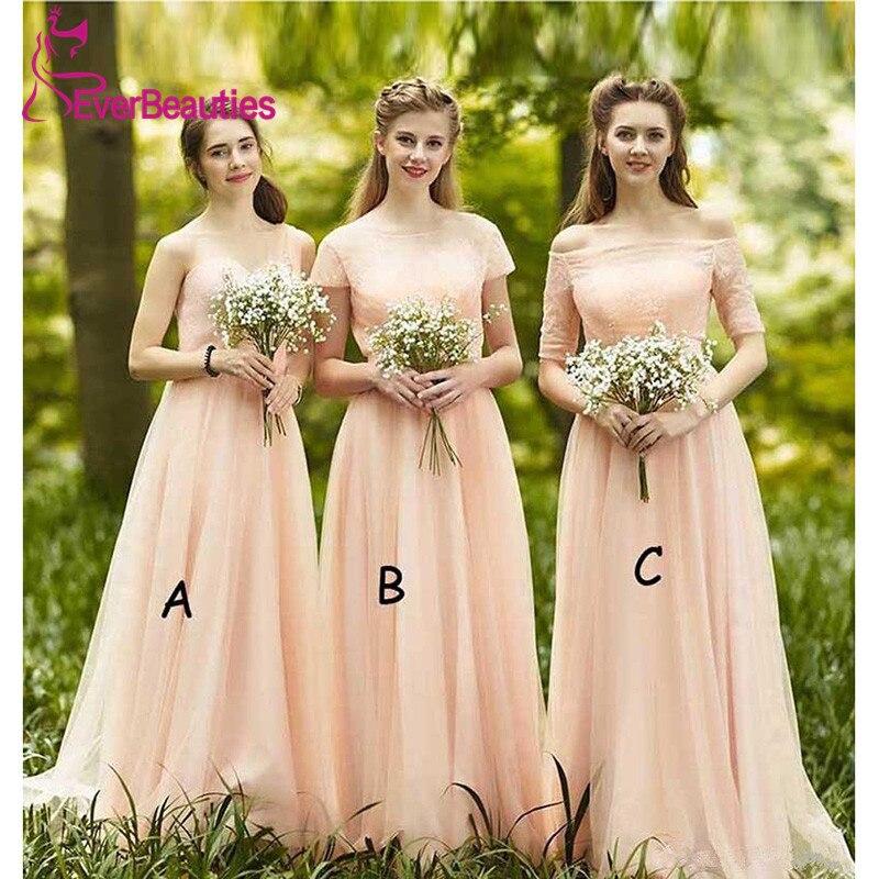 Bridesmaid     Dresses   Elegant 2019 Long Tulle Vestidos De Festa Three Styles Wedding Guest   Dress   Lace up High Quality Vestido Longo