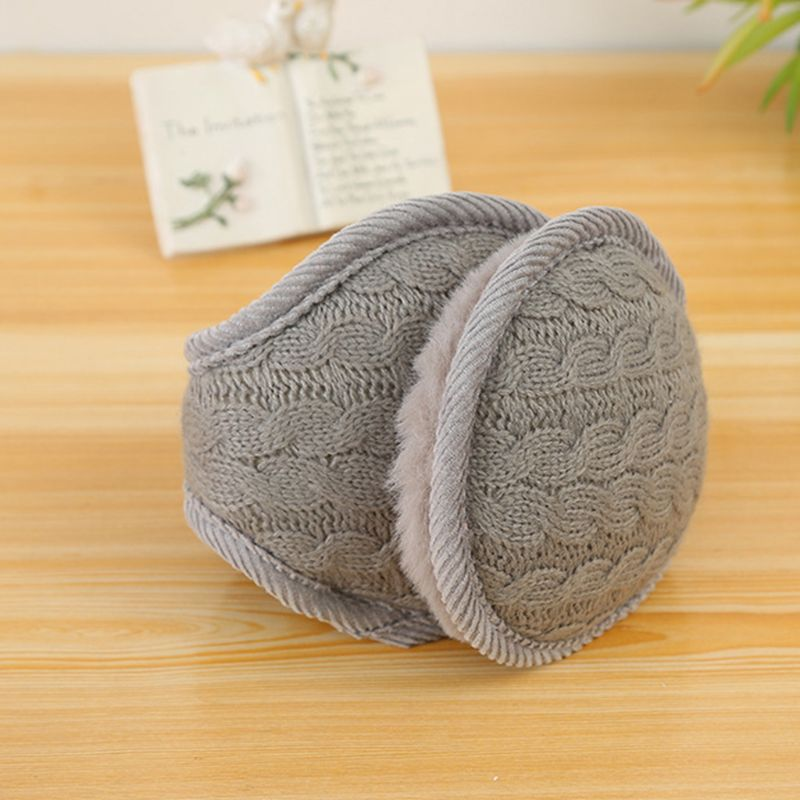 Women Men Wavy Stripes Knitted Winter Foldable Earmuffs Thicken Plush Ear Warmer 95AB