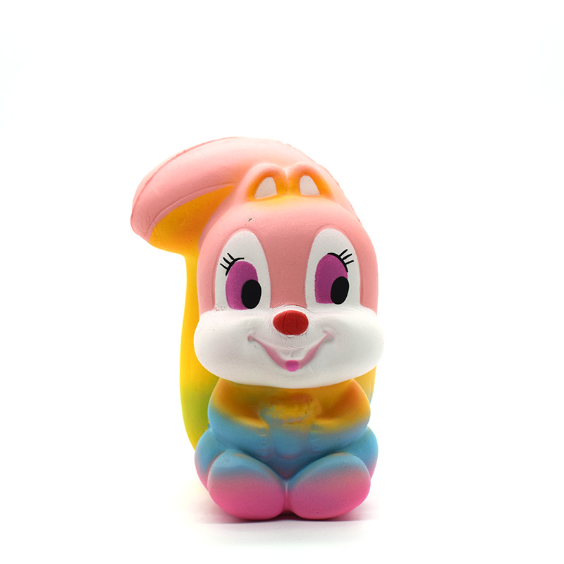 12cm Colorful Squirrel Squishies Slow Rising Squeeze Scented Stress Relieve Cartoon Toy Drop Shipping
