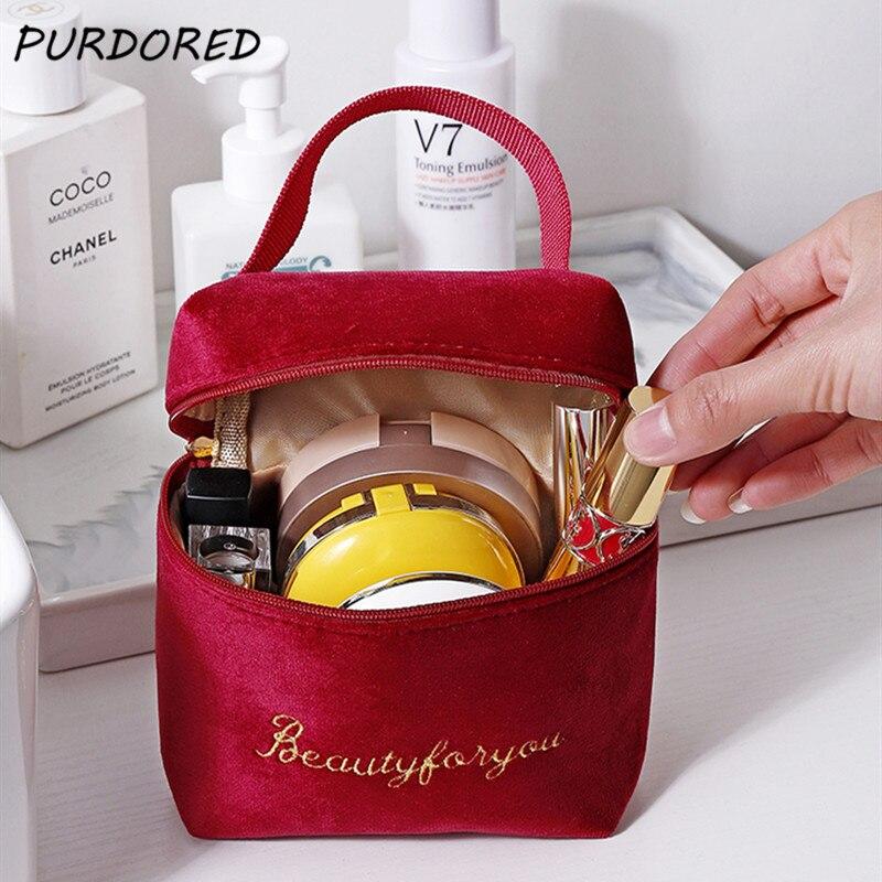 PURDORED 1 Pc Velvet Cosmetic Bag Women Travel  Makeup Bag Organizer Solid Color Female Make Up Pouch  Necessaries Porte Carte