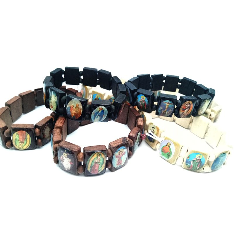 4pc Catholic Jewelry Christian Supplies Wooden Icon Elastic Bead Bracelet Gift