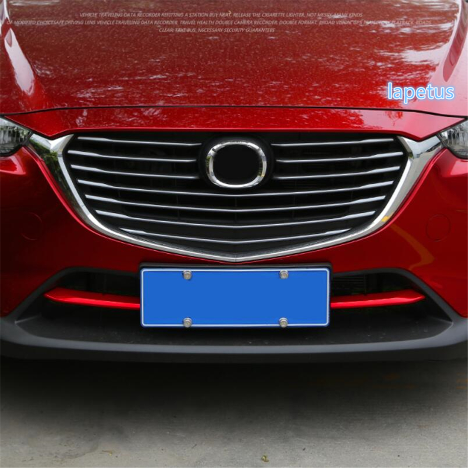 Lapetus Front Grille Air-inlet Grill Bottom Decoration Strip Cover Trim Fit For <font><b>Mazda</b></font> CX-3 <font><b>CX3</b></font> 2016 - <font><b>2019</b></font> ABS Chrome / Red Look image