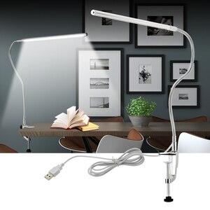 Image 2 - Lampe de Table à bras Long 48 LED s pince de bureau LED lampe de bureau USB Flexible col de cygne protection des yeux lampes de lecture pour étude de travail