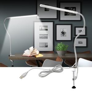 Image 2 - Lange Arm Tafellamp 48 Leds Clip Gemonteerd Office Led Bureaulamp Usb Flexibele Zwanenhals Oogbescherming Leeslampen voor Werk Studie