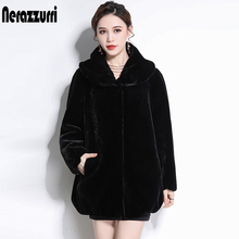 Nerazzurri 5xl 冬のジャケットの女性ふわふわ毛皮のような黒フェイクファーのコートプラスサイズ偽シアーミンクの毛皮生き抜く 新到着