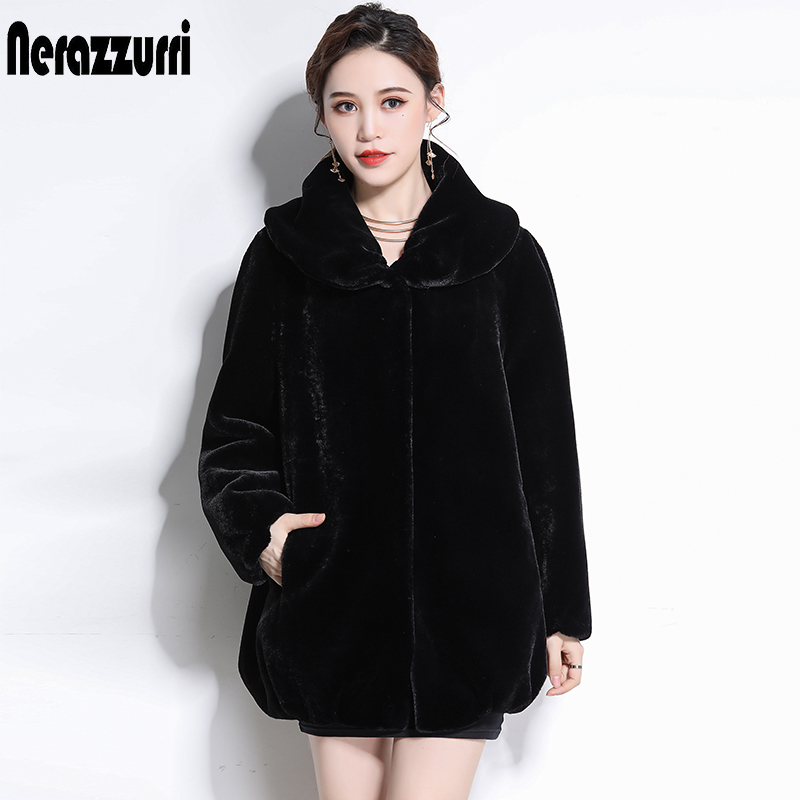 Nerazzurri Winter Jacket Women Fluffy Furry Black Faux Fur Coat Plus Size Fake Sheared Mink Fur Outwear 5xl 6xl New Arrival 2019