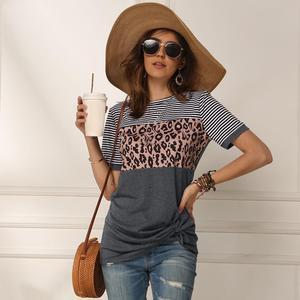 Image 4 - Женская футболка с леопардовым принтом в полоску, Повседневная модная уличная футболка с коротким рукавом, хлопковая футболка, лето 2020, для женщин, футболка с принтом, повседневная, уличная мода, с коротким рукавом