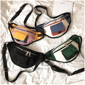 Image 1 - Mode taille sac Fanny Pack unisexe poitrine sacs rue Style banane sac Hip Packs toile matériel pratique paquet sac à main