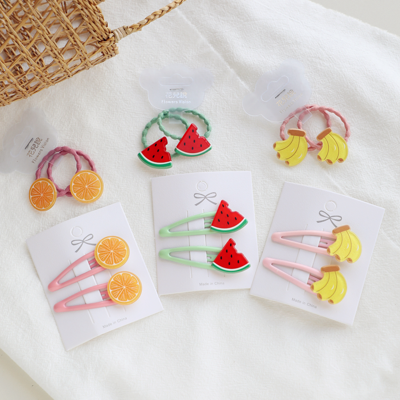 2 PCS New Fruit Pineapple Princess BB Hairpins Kids Elastic Hair Bands Baby Headdress Children Hair Ropes Girls Hair Accessories