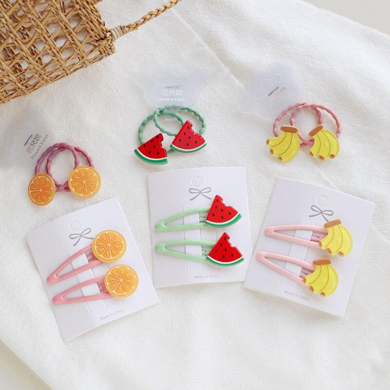 2 PCS New Fruit Pineapple Princess BB Hairpins Kids Elastic Hair Bands Baby Headdress Children Hair Ropes Girls Hair Accessories