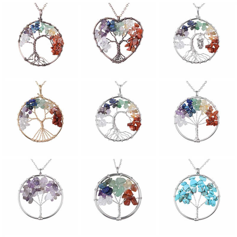 SA SILVERAGE European American Top Selling Macadam Pendant Life Tree Necklace Colorful Natural Stone Long Necklace Unisex Trendy