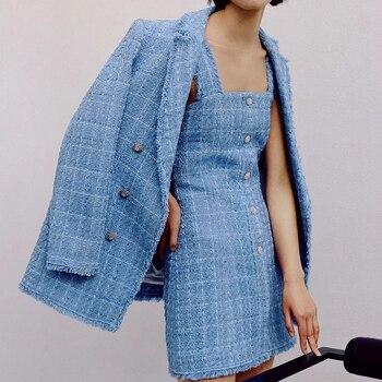 ZXQJ tweed femmes élégant bleu blazers 2020 mode dames vintage lâche blazer vestes décontracté femme streetwear costumes filles chic 1