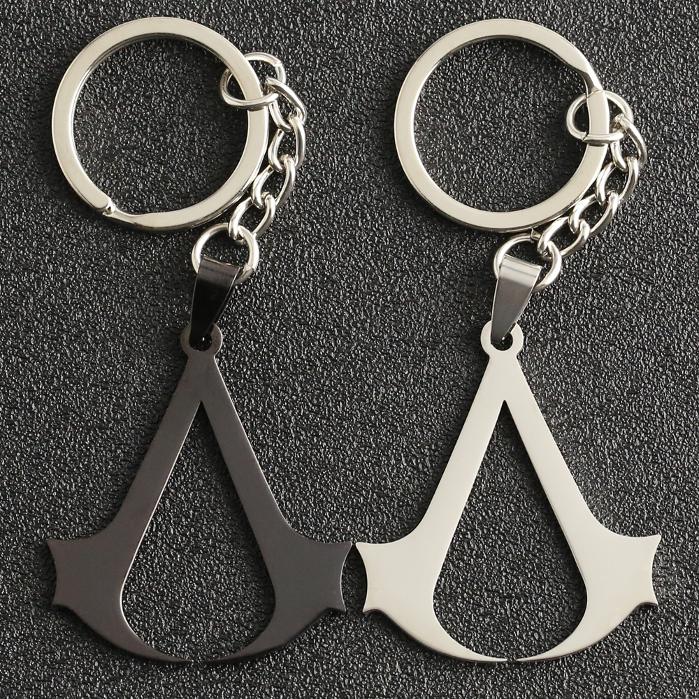Assassins Creed Keychain Altair Ezio Connor Desmond Keyring Key Holder Chain Ring Stainless Steel Movie Game Jewelry Wholesale image