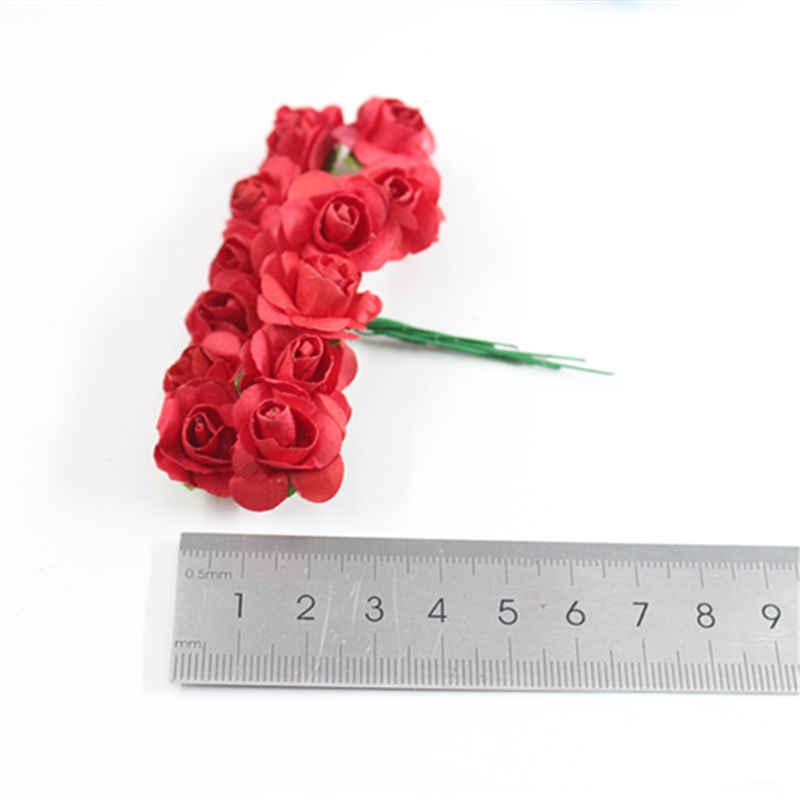 חם 144 pcs/Lots של 2cm מיני נייר רוז פרח זר חתונת קישוט נייר פרח DIY פרחים
