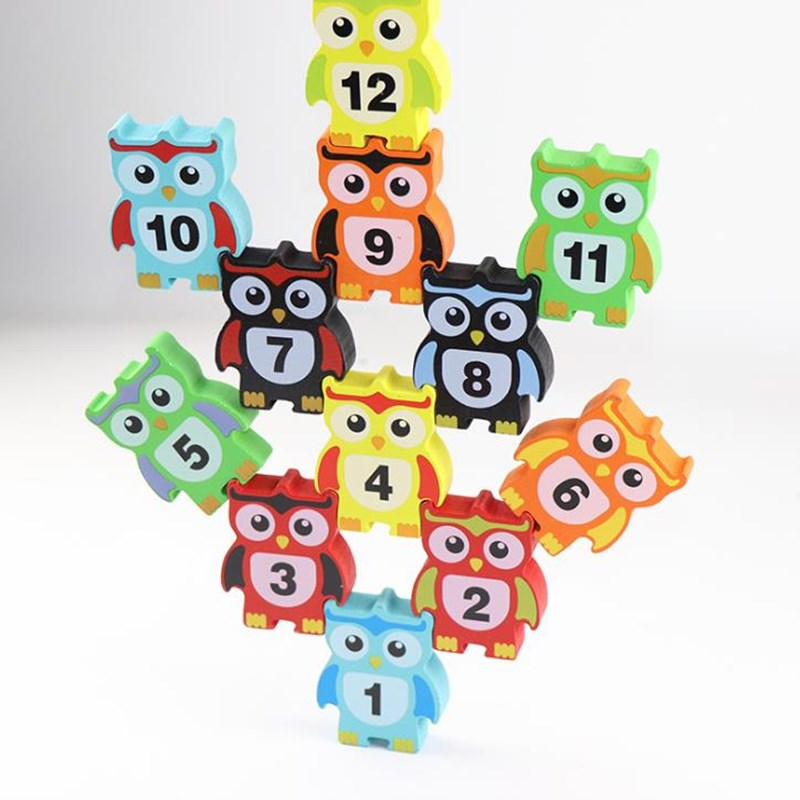 12pcs Owl Wooden Puzzle Toys Stacking Height Blocks Toy Wooden Balance Games for Children Kids