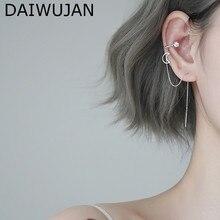 DAIWUJAN New Single Long Ear Line Clip Tassel Earrings for Women 925 Silver Moon Crystal Pendant Cuff Earrings Fashion Jewelry