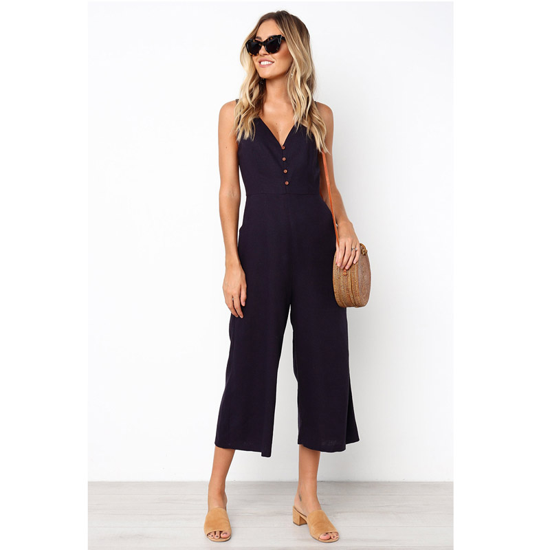 Casual Summer Loose Long Pants Sleeveless Jumpsuit Spring Womens 2020 Fashion V Neck Cotton Button Pocket Jumpsuits Ladies