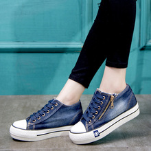 Fashion Wedge platform 6 cm Sneakers Women Casual Canvas Shoes