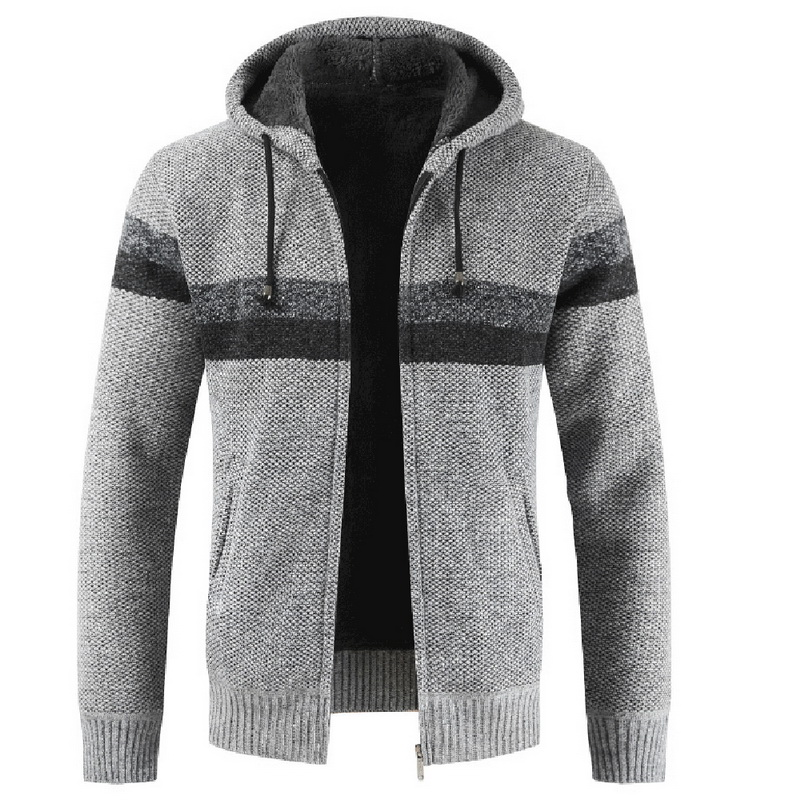Men's Fashion Autumn And Winter Thick Warm Sweater Coats Males Striped Zipper Hooded Cardigans Casual Slim Fit Coats 2019 New