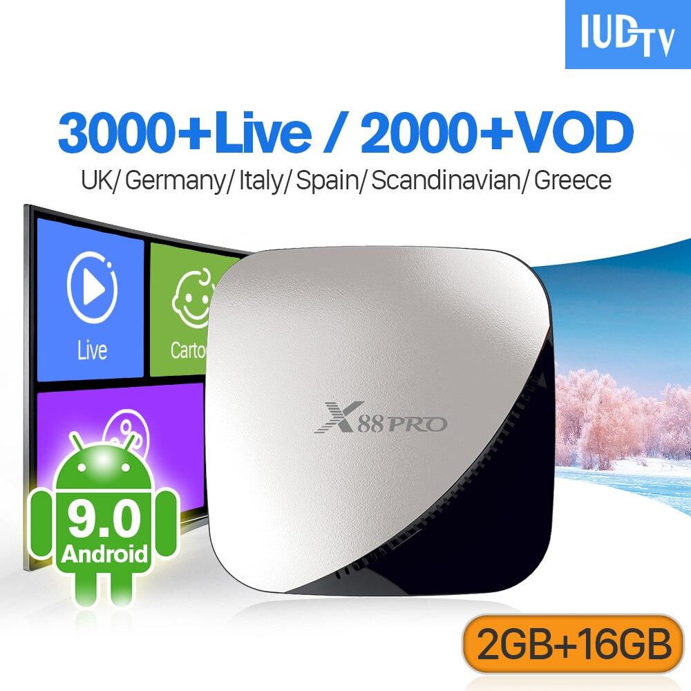 IPTV suède Full HD Android 9.0 français IPTV abonnement X88Pro 2G 16G box double-bande wifi serveur Stable espagne arabe inde IP TV