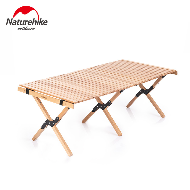Naturehike Outdoors Folding Wood Table Egg Roll Style Table For Camping Home Self-driving Tour Solid Wood Barbecue Picnic Table