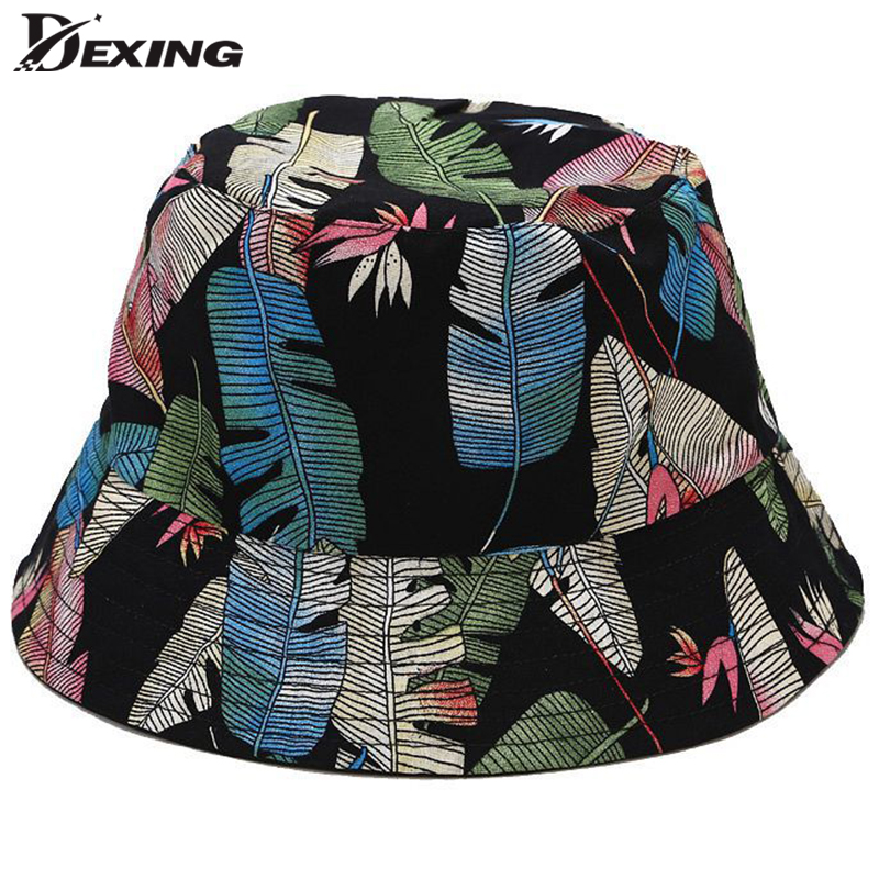 2020 New Tropical Leaves Bucket Hat For Men Women Summer  Print Floral Sun Hat Fashion  Fisherman Hat Flowest Bob