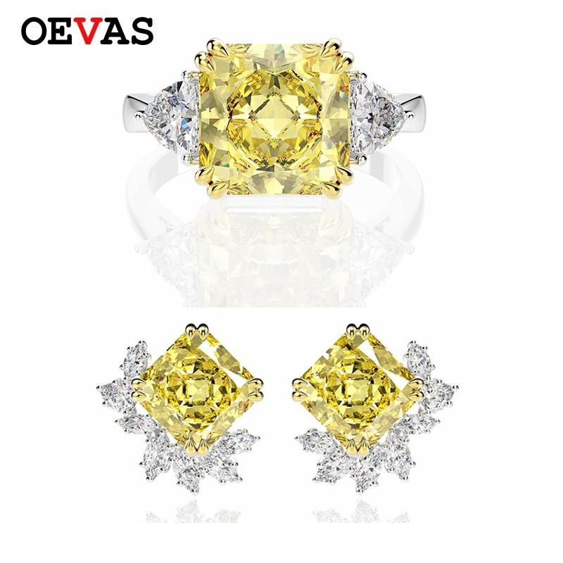 OEVAS Luxury 925 Sterling Silver Created Moissanite Citrine Gemstone Earrings/Rings Cocktail Wedding Jewelry Sets Wholesale