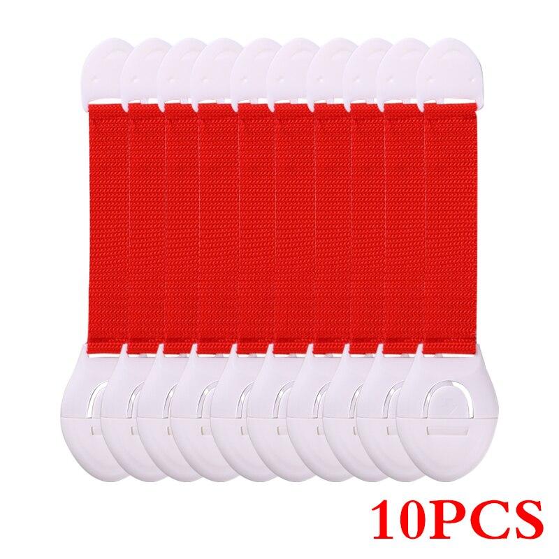 10 шт./лот защита от детей блокировка дверей для безопасности детей Детская безопасность пластиковая защита замок безопасности - Цвет: Красный