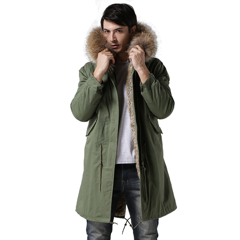 Fashionable High-end Italy Style Faux Rabbit Fur Lining Coats Real Raccoon Fur Collar Jacket Winter Men Fur Parkas Have Pockets