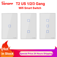 Sonoff TX T2 US 1 2 3 Gang Smart Wifi Switch Smart Home Remote Control RF Wall Touch Light Switch Works with Alexa Google Home