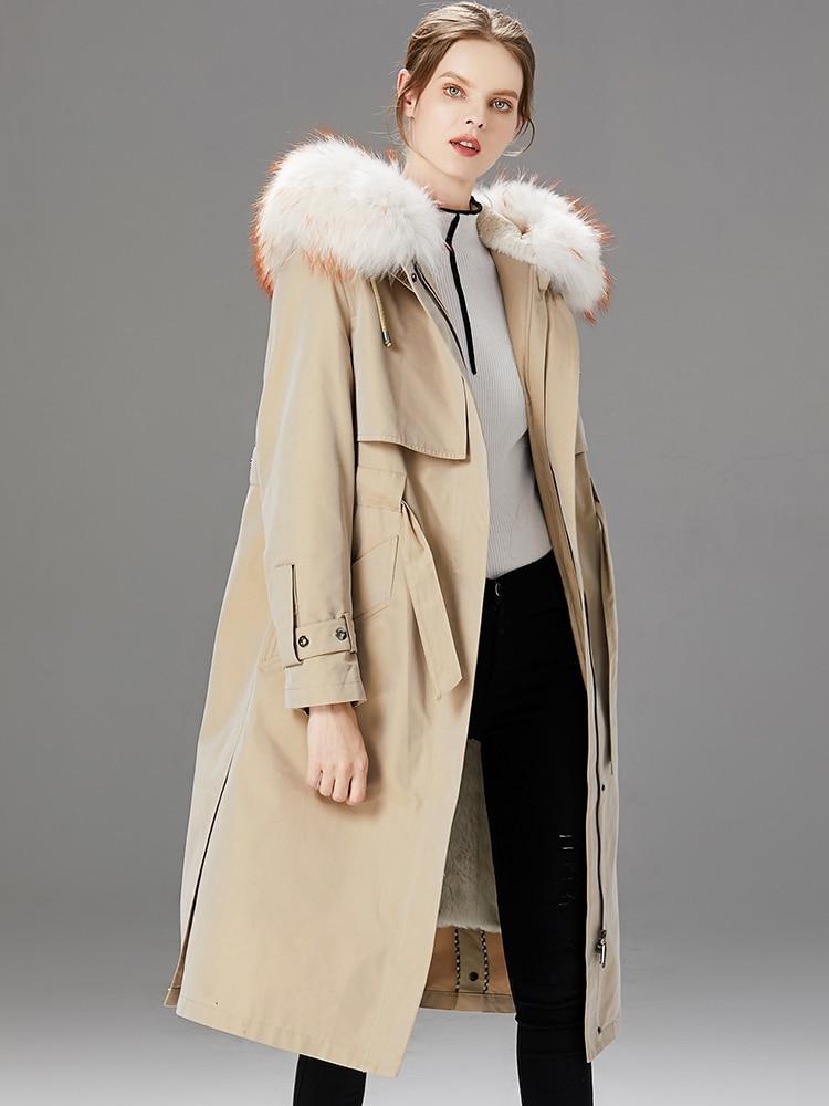Coat Fur Real Female Natural Rabbit Fur Liner Parka Winter Jacket Women Raccoon Fur Collar Long Jackets Warm Parkas MY S S