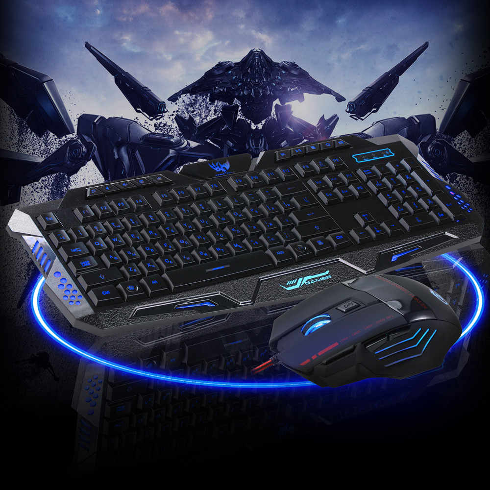 LED Gaming draht 2,4G tastatur und Maus Set zu Computer Multimedia Gamer Tastatur Maus Set Gaming Maus Bunte Backlit dota