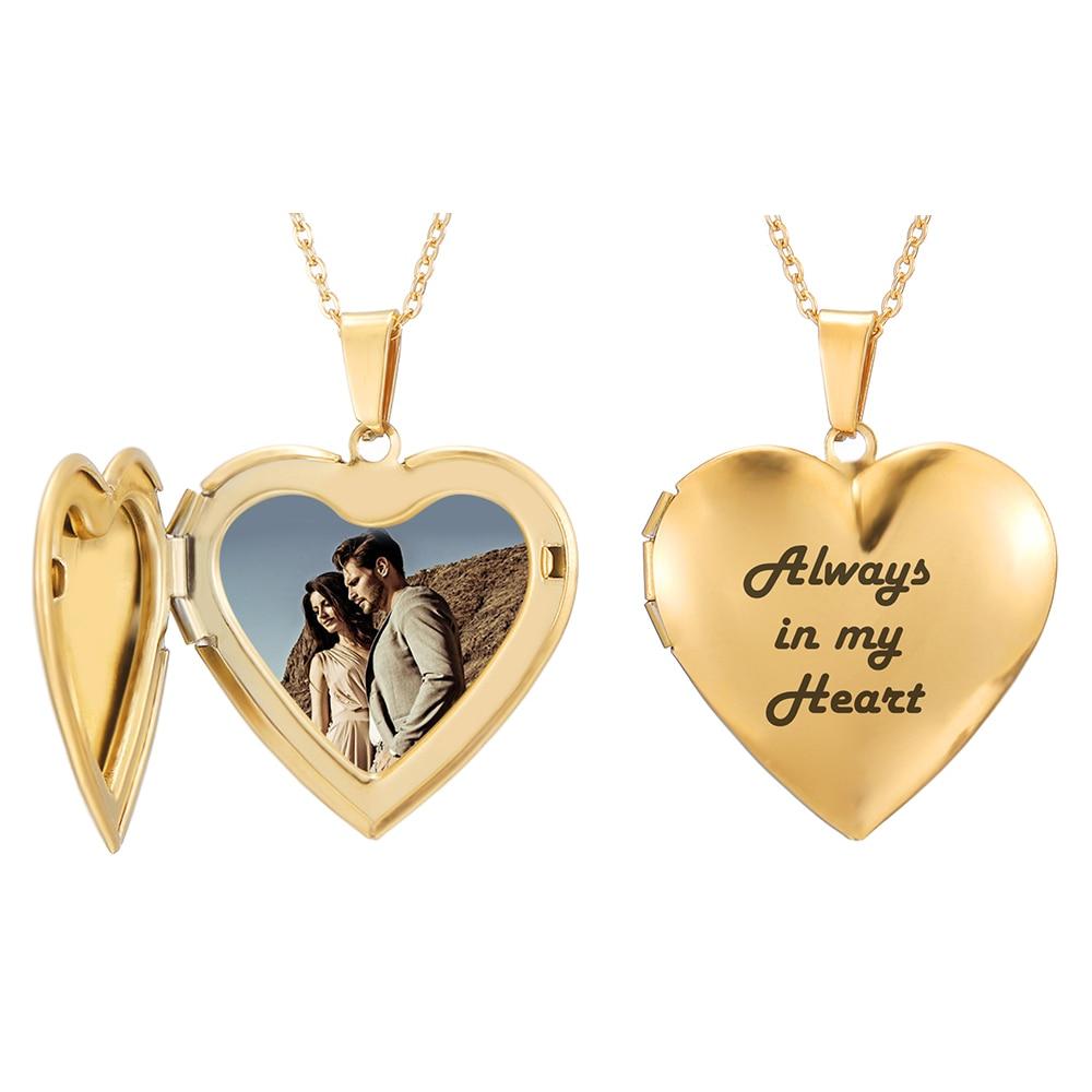 Fotografía y texto Personalizado Grabado Gran Corazón Collar Colgante