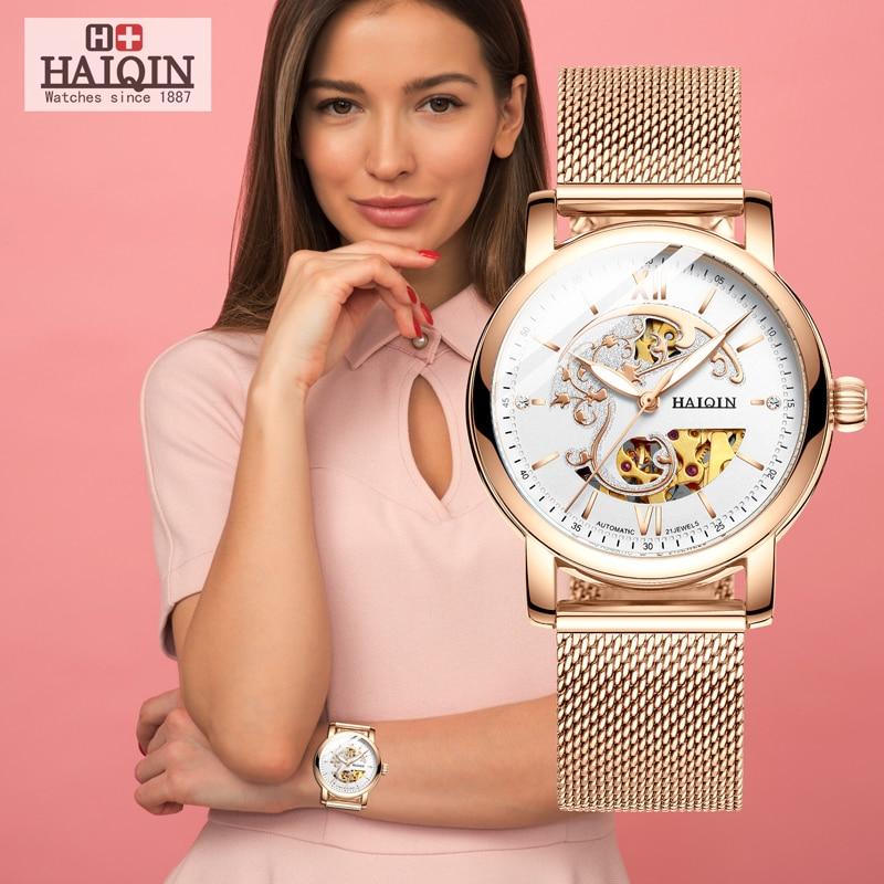 HAIQIN 2019 Fashion women mechanical watch skeleton luxury Ladies diamond automatico WristWatch Relogio Feminino gifts for women