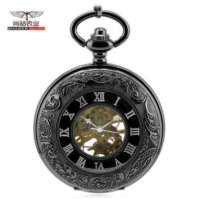 Luxury Steampunk Pendant For Men Women Hand Winding Mechanical Pocket Watch Roman Numerals Skeleton Watches FOB Chain