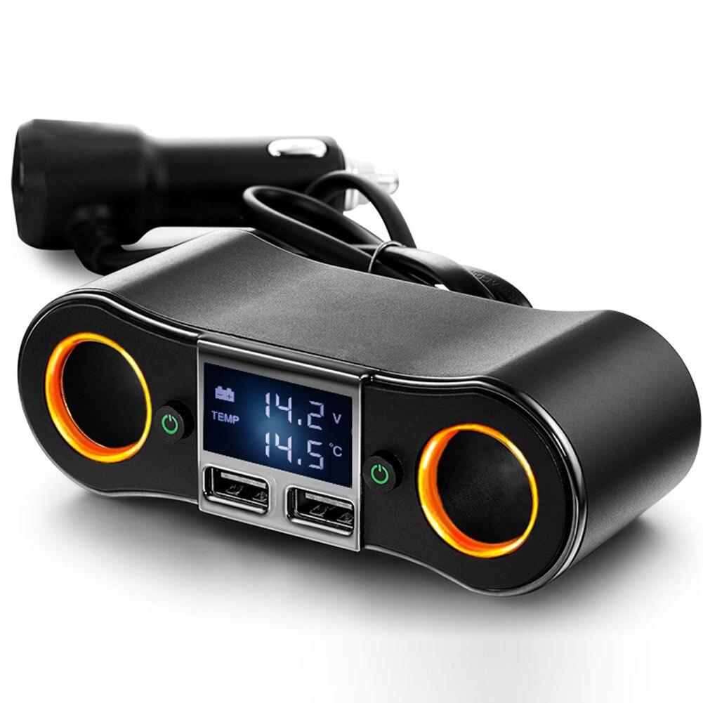 12V DC Socket Double Plug Adapter Splitter Cigarette Lighter USB Car Charger 2 Way