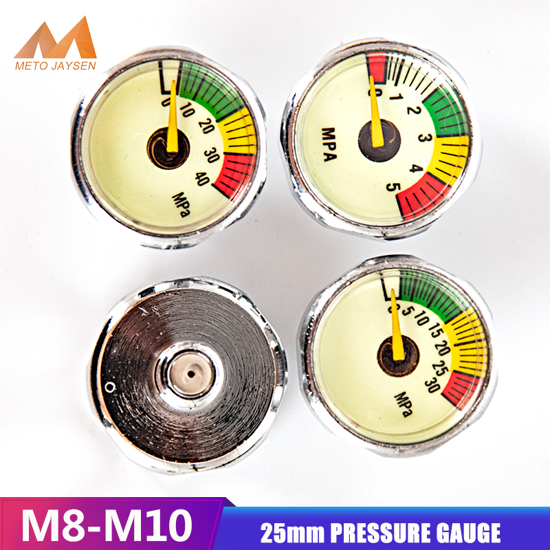 25mm High Pressure Gauge M8x1 1 Inch Manometre PCP Paintball Pump Scuba Diving Valve Gauge M10x1 Thread 5mpa 30mpa 40mpa