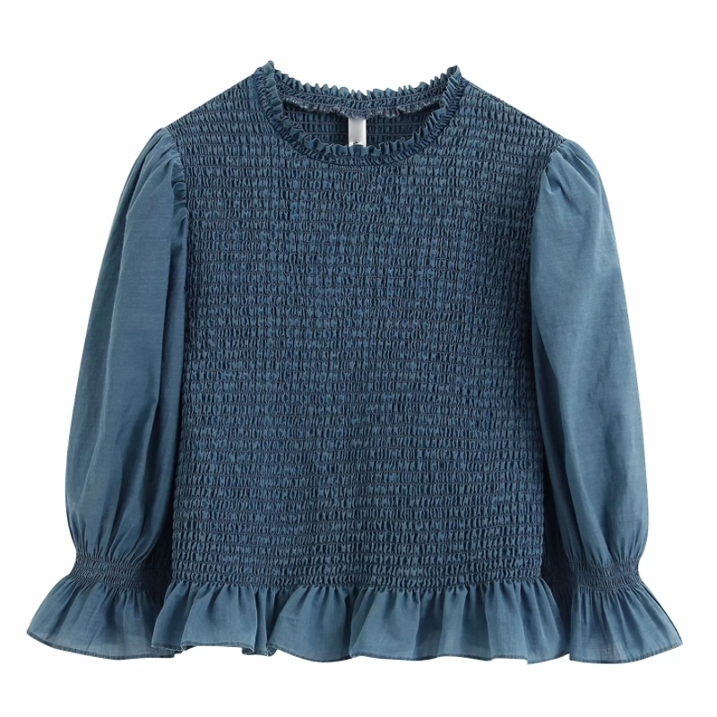Women Vintage O Neck Solid Color Ruffles Elastic Blouse Puff Sleeve Smock Shirts Female Agaric Lace Chemise Blusas Tops LS6406