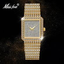 Женские часы missfox золотые полностью алмазные Роскошные Брендовые