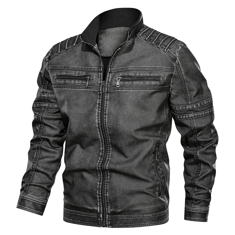 2019 Autumn And Winter New Style Men's Casual PU Leather Large Size Stand Collar Retro Leather Jacket Men's