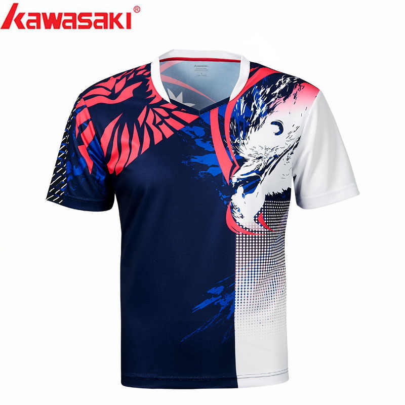 Kawasaki Mens Badminton Shirts  Breathable  V-Neck Quick Dry T-shirt For Men Training Running  Sportswear ST-S1131
