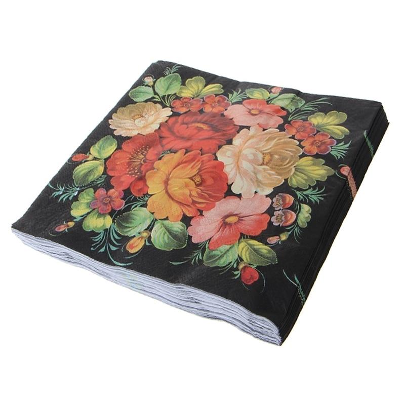 20Pcs/Bag High-grade Vintage Black Flower Paper Napkins Cafe&Party Tissue Napkins Decoration Portable Sanitary Paper