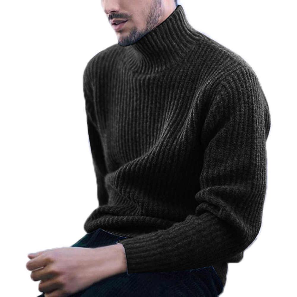 Mode hommes chandails couleur unie col roulé à manches longues Pullover décontracté pull tricoté vêtements pour hommes