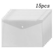 15 Pçs/set A5 Plástico Transparente/A4 PP Resistente À Água Protetores da Folha de Documentos de Arquivo Titular Arquivo Envelope Da Folha Solta