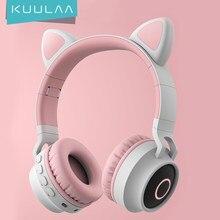KUULAA Neue LED Katze Ohr Noise Cancelling Kopfhörer Bluetooth 5,0 Jungen Menschen Kinder Headset Unterstützung TF Karte 3,5mm Stecker mit Mic
