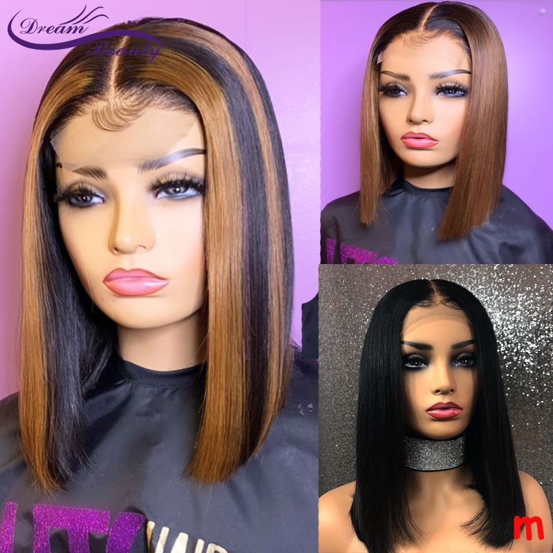 Short Bob Ombre Blonde Color 13*4 Lace Front Human Hair Wigs 180% Brown Straight Brazilian Remy Hair PrePlucked Wig Dream Beauty