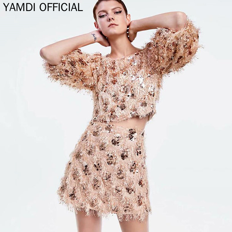 YAMDI Sequined Party <font><b>Dress</b></font> 2 Piece Set <font><b>2019</b></font> New Chic Fringe <font><b>Dress</b></font> Women <font><b>Sexy</b></font> <font><b>Dresses</b></font> Party Night <font><b>Club</b></font> <font><b>Mini</b></font> <font><b>Dress</b></font> <font><b>Runway</b></font> Female image
