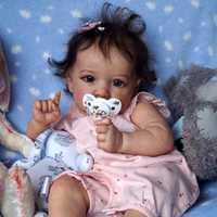 Muñeca de bebé Reborn de 55cm, cuerpo de algodón, vinilo de silicona amarilla, juguetes para niños, regalos de cumpleaños y Navidad