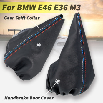 Car Manual Gear Shift Collar Leather Handbrake Gaiter Boot Cover For BMW E46 1999-2005 3Series E36 M3 1991-1998 image
